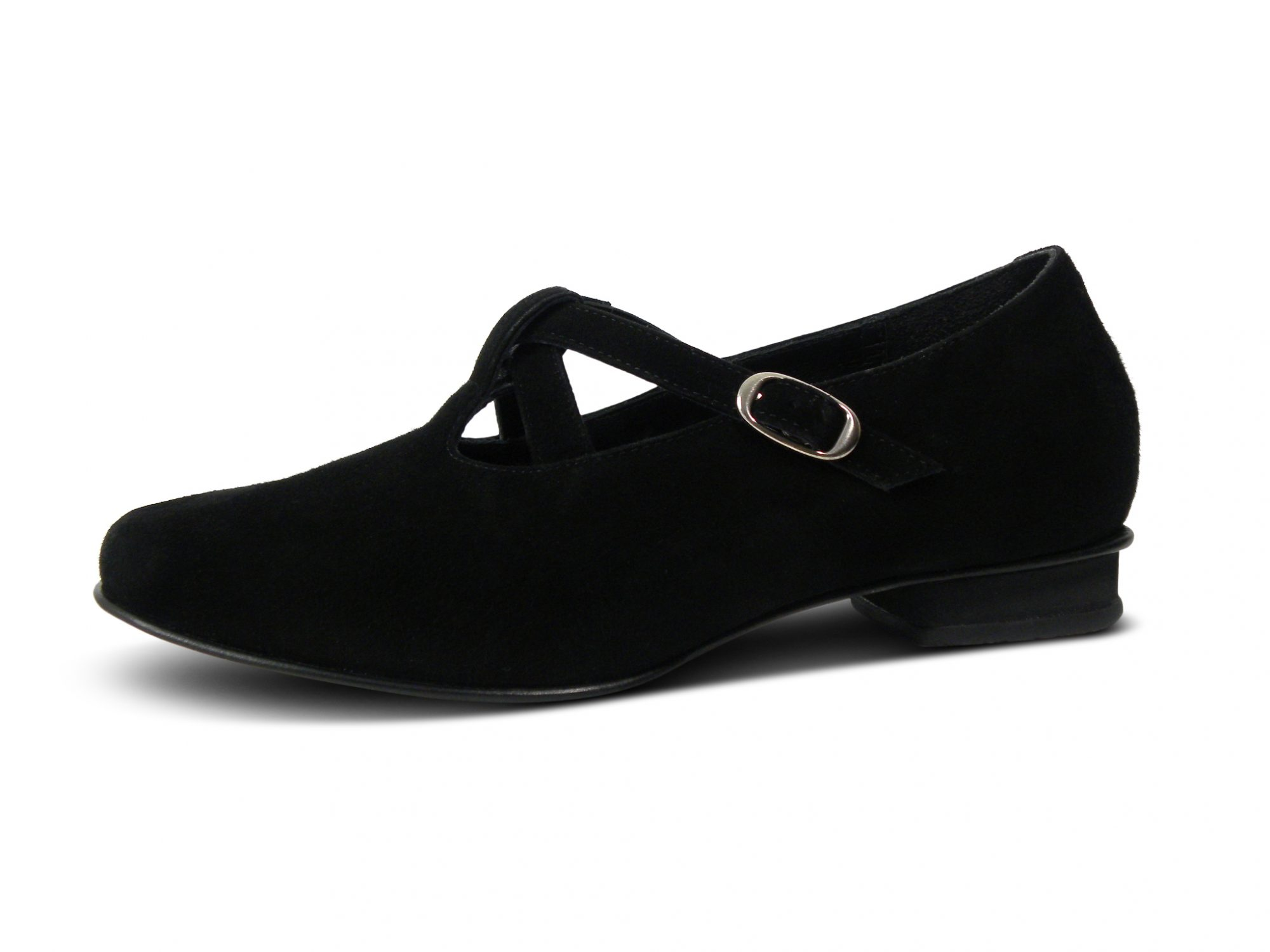 Riemchenballerina mit Fußbett, Veloursleder