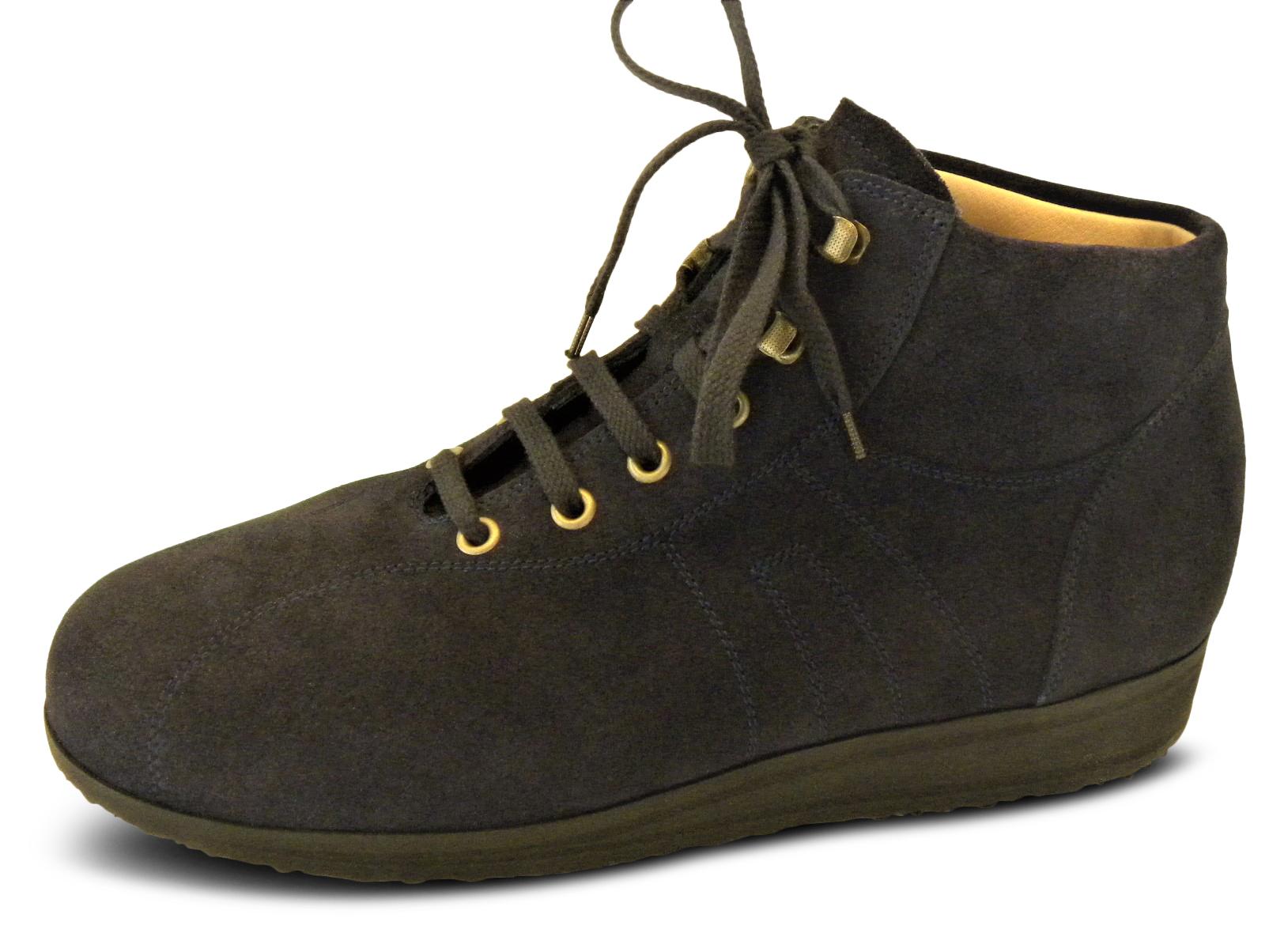 knöchelhoher Sneaker mit Fußbett, Veloursleder