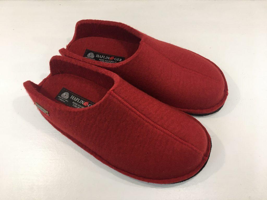 Pantoffeln mit Fußbett rot